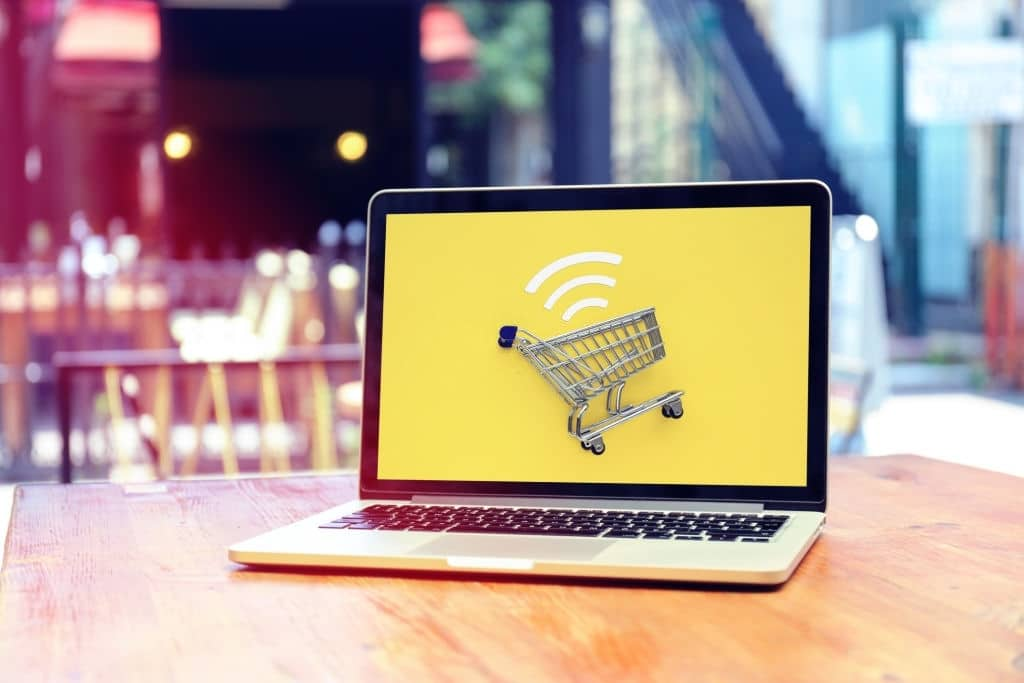 Internet shopping with laptop